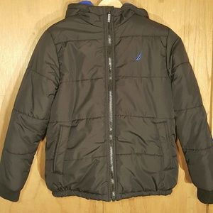 Nautica Boys Puffer Coat With Hood Size M 10-12